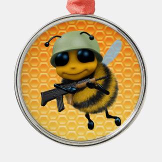 かわいい3d蜂の兵士 メタルオーナメント