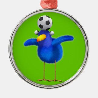 かわいい3d鳥はフットボールを遊びます(編集可能) メタルオーナメント