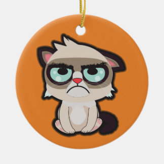 かわいい、おもしろいおよびおもしろいなgrimmy猫の円形のornamnet セラミックオーナメント