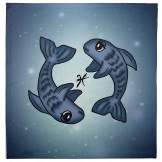かわいい(占星術の)十二宮図魚類 ナプキンクロス