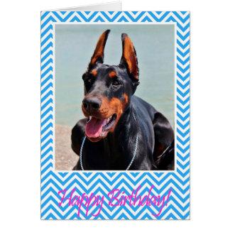 かわいい(犬)ドーベルマン・ピンシェル犬のハッピーバースデーカード グリーティングカード