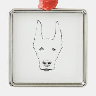 かわいい(犬)ドーベルマン・ピンシェル犬の顔のスケッチ メタルオーナメント