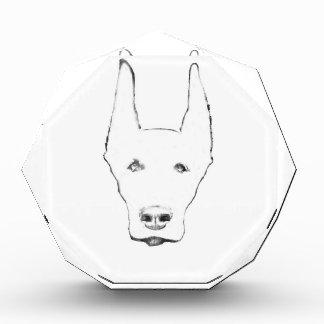 かわいい(犬)ドーベルマン・ピンシェル犬の顔のスケッチ 表彰盾