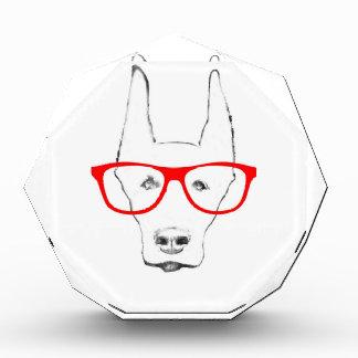 かわいい(犬)ドーベルマン・ピンシェル犬の顔wの光景のスケッチ 表彰盾