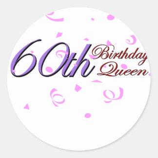 """かわいい、""""第60誕生日の女王""""のデザイン ラウンドシール"""