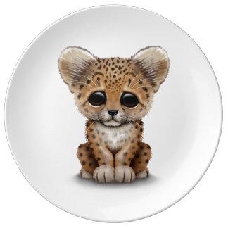かわいい|赤ん坊|ヒョウ|カブス|白い 磁器製 皿