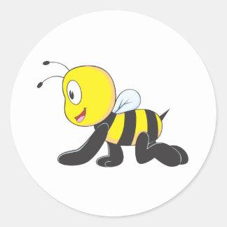 かわいい|赤ん坊|蜂|除行|床|ワイシャツ 丸形シール・ステッカー
