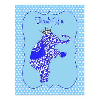 かわいい|青い|象|KingThank||カード ポストカード