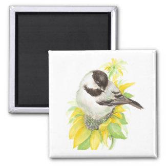 かわいい《鳥》アメリカゴガラ、鳥、ヒマワリ、庭、自然 マグネット