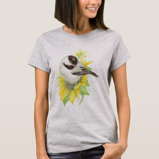 かわいい《鳥》アメリカゴガラ、鳥、ヒマワリ、庭、自然 Tシャツ