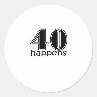 """かわいい、""""40第40誕生日のデザイン""""は起こります ラウンドシール"""