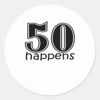 """かわいい、""""50第50誕生日のデザイン""""は起こります ラウンドシール"""