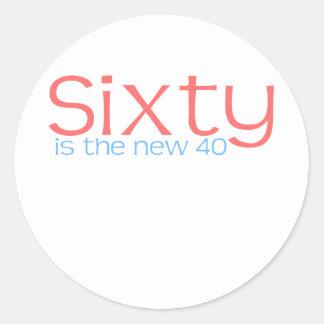 """かわいい、""""60は新しい40""""デザインです ラウンドシール"""