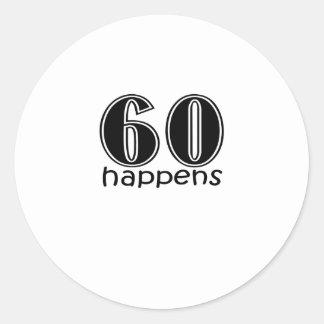 """かわいい、""""60第60誕生日のデザイン""""は起こります ラウンドシール"""