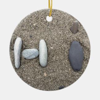 かわいいBeachy芸術の砂の石のこんにちはシンプル セラミックオーナメント