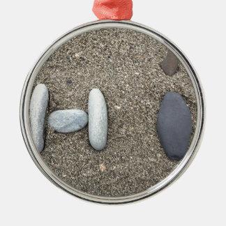 かわいいBeachy芸術の砂の石のこんにちはシンプル メタルオーナメント