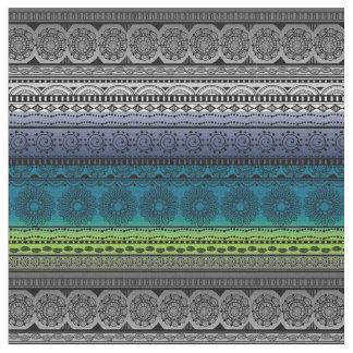 かわいいBohoのプリントの生地の青緑の勾配 ファブリック