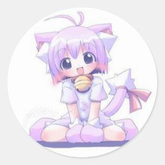 かわいいCatgirl ラウンドシール
