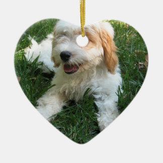 かわいいCAVAPOOの子犬 セラミックオーナメント