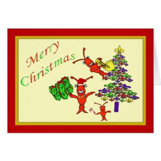 かわいいCrawfishのロブスターの(紋章の)フラ・ダ・リの木のクリスマス カード