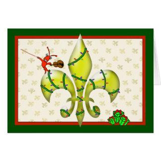 かわいいCrawfishの(紋章の)フラ・ダ・リのクリスマスの挨拶 カード