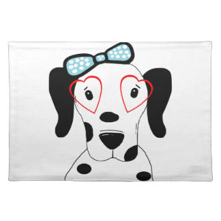 かわいいDalmatian犬のおもしろいな顔のハート ランチョンマット