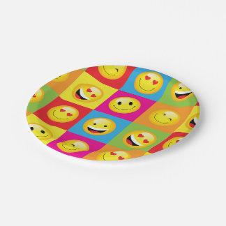 かわいいEmojiのパーティーの顔文字のスマイリーフェイスの正方形 ペーパープレート