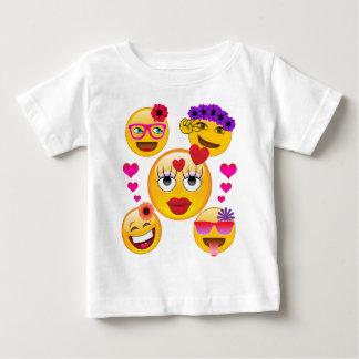 かわいいEmojiは子供へおよび大人に直面します ベビーTシャツ