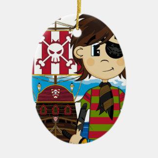 かわいいEyepatchの海賊および船のオーナメント セラミックオーナメント