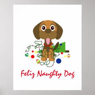 かわいいFelizいけない犬のクリスマスの漫画 ポスター