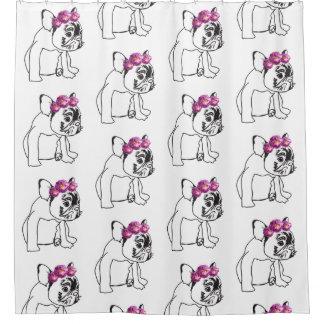 かわいいFrenchieのブルドッグ犬の子犬のシャワー・カーテン シャワーカーテン