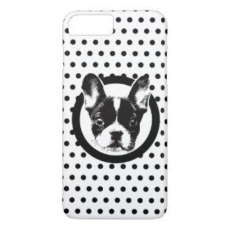 かわいいFrenchieのロゴの水玉模様 iPhone 8 Plus/7 Plusケース