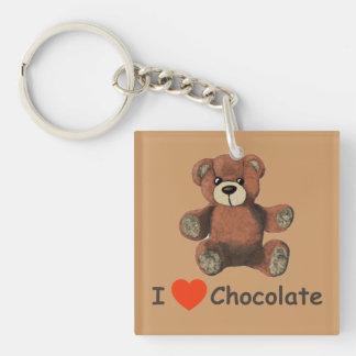 かわいいIのハート(愛)チョコレートテディー・ベア 正方形(両面)アクリル製キーホルダー