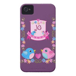 かわいいiphone 4ケースのTwitterの鳥及びモノグラム Case-Mate iPhone 4 ケース