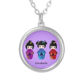 かわいいkokeshiの人形の漫画の名前 シルバープレートネックレス