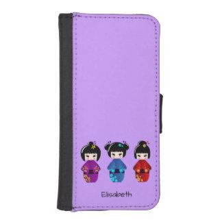 かわいいkokeshiの人形の漫画の名前 iPhoneSE/5/5sウォレットケース