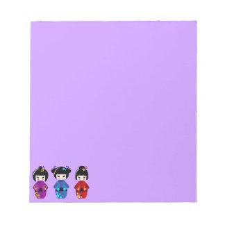 かわいいkokeshiの人形の漫画 ノートパッド