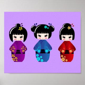 かわいいkokeshiの人形の漫画 ポスター