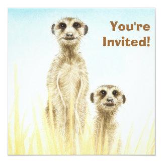 かわいいMeerkatsの誕生日のパーティの招待状 カード