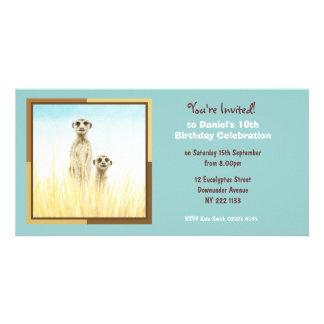 かわいいMeerkatsの誕生日の招待状の写真カード カード