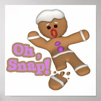 かわいいoh、急なジンジャーブレッドマンのクッキー ポスター