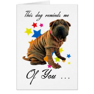 かわいいshar peiのバースデー・カード-ユーモアのあるなカード カード