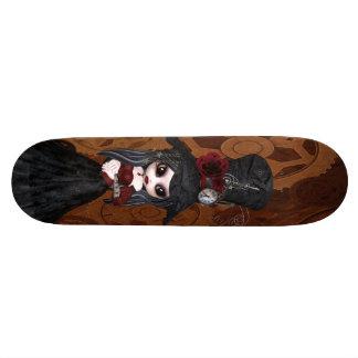 かわいいSteampunkのゴシックの女の子はスケートボードを連動させます 19.7cm スケートボードデッキ