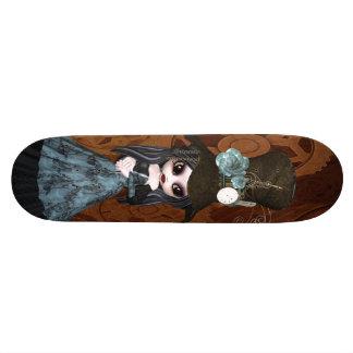かわいいSteampunkのゴシックの女の子及びギアのスケートボード カスタムスケートボード