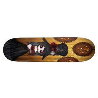 かわいいSteampunkのゴシックの女の子及びコグの時計のスケートボード 21.6cm スケートボードデッキ