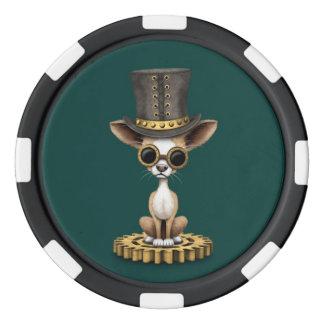 かわいいSteampunkのチワワの小犬、ティール(緑がかった色) ポーカーチップ