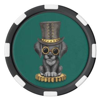 かわいいSteampunkの黒い実験室の小犬、ティール(緑がかった色) ポーカーチップ
