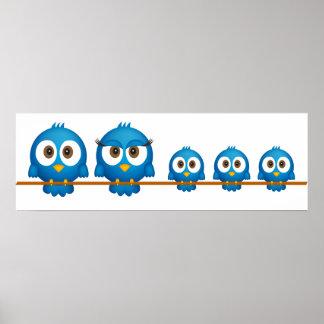 かわいいtwitterの鳥家族の漫画 ポスター