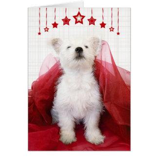 かわいいWestieの子犬のクリスマスカード カード