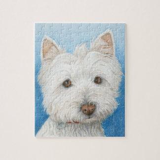 かわいいWestie犬のパズル ジグソーパズル